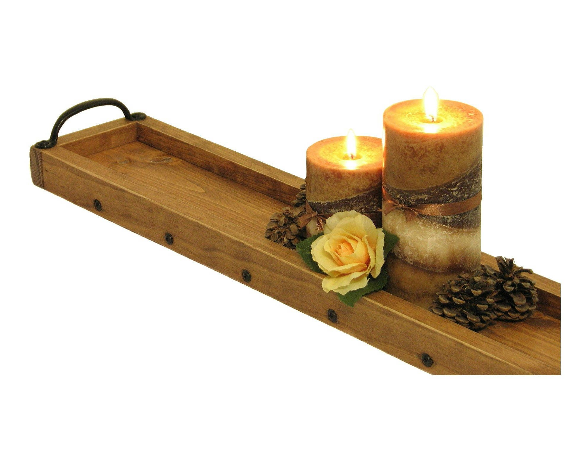 Long tray candle centerpiece wooden