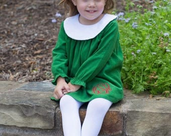 Bishop Dress, monogram bishop dress, Girls collared dress, girls bishop dress, bishops dress, corduroy bishop dress, corduroy dress, bishop