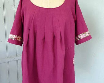 Pleated neck tunic, size 46 to 50, raspberry and pink, short version