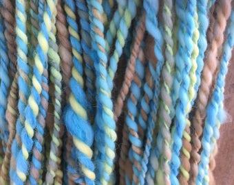 Hand spun Art yarn hand spun hand dyed blue brown yellow/green bulky 2 ply knitting supplies crochet supplies Waldorf doll hair wool baby ph