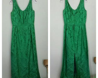 Vintage Paisley Brocade Evening Gown, Green, Medium