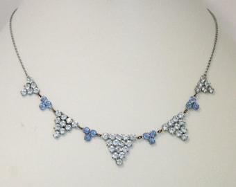 Vintage blue open back crystal necklace. Dainty crystal necklace. Blue necklace.  Vintage jewellery