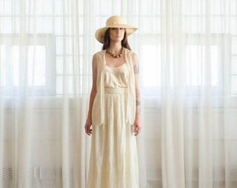 40% OFF SALE - 1970s Silk Lace Dress & Vest Set - Vintage 70s Cream Lace Dress - Traina Lace Skirt and Vest