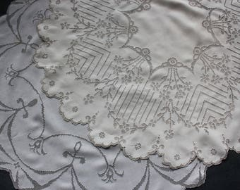 2 Antique Italian Drawn Thread Embroidery Round Tea Tablecloths Embroidered