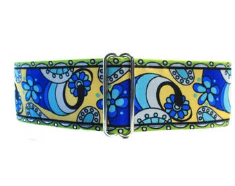Martingale Collar Blue, 1,5 inch Martingale Collar Boy, Blue Dog Collar, Martingale Collar Boy, Dog Collars for Boys, Paisley Dog Collar