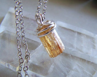 Gold Imperial Topaz Natural Gemstone Crystal Pendant
