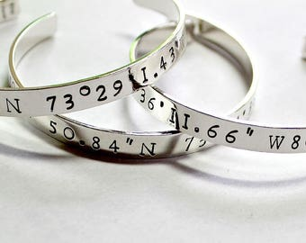 Coordinate Cuff Coordinate Bracelet Personalized For Her Christmas Gift Coordinates Cuff Coordinates Bracelet Custom Coordinates Gift Silver
