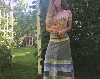 Patchwork boho Skirt, size S/M, eco clothing, festival skirt, hippie skirt, jersey skirt, gypsy skirt,earthy skirt, patchwork skirt, Zasra