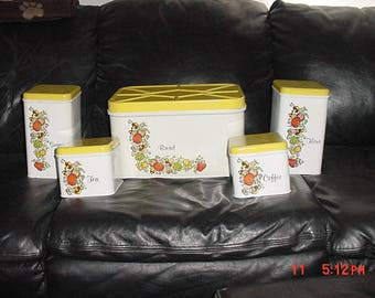 Vintage J.Chein Company Housewares Metal Bread Box & Canisters Set  17 - 970