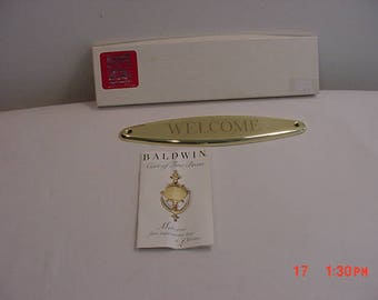 Vintage Baldwin Fine Brass Welcome Door Plate never Used In Original Box  17 - 988