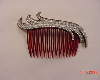 Vintage Rhinestone Accented Hair Comb  18 -21