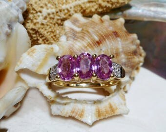 14k Pink Sapphire and Diamond Ring Yellow Gold 3.02 grams 2.03ctw Size 7