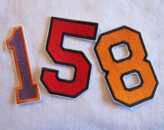 Embroidered Numbers, Varsity Numbers, College Numbers, Numbers