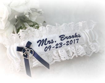 Custom Embroidered Wedding Garter  - Custom Bridal Gift - Something Blue For Wedding - Personalized Garter Belt - Lacey Wedding Garter.