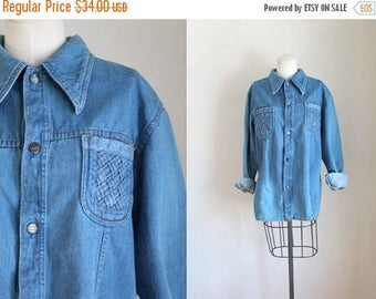 AWAY SALE 20% off vintage 1970s denim shirt - WRIGHT light denim jacket / L/Xl