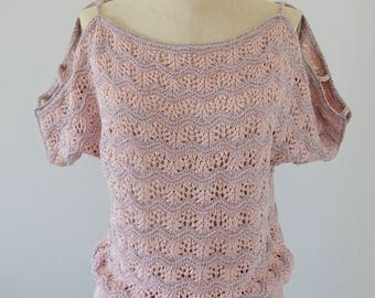 Vintage 70s Chevron lace knit crochet sweater pastel pink silver metallic top bohemian hipster