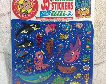 SUMMER SALE 1994 Reuseable Okee Dokee Stickers Underwater Sea Fest Sealed with Sticker Pad