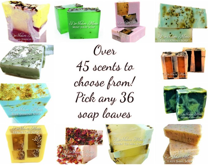 SOAP - 36 assorted 3LB Handmade Soap Loaves, Wholesale Soap Loaves, Vegan Soap, Soap Gifts, Wedding favors, Shower Favors, Christmas Gifts
