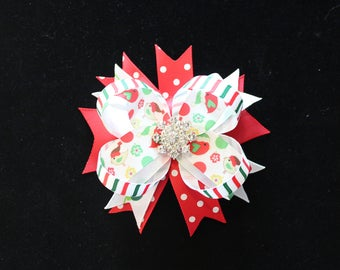Christmas stacked hair bow