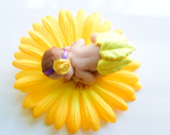 Miniature life like clay baby 2 1/2 inches long, miniature clay baby, doll house baby, baby shower, cake topper decoration, clay baby OOAK