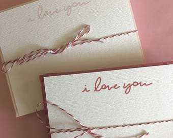 I love you hand lettered notecards, Valentine's Day Cards, Love Notes