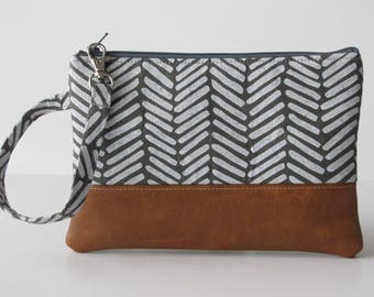 Grey Herringbone Wristlet Wallet, iPhone wallet, Vegan Leather Clutch, Phone Wristlet, Christmas Gift for Her, Under 50, Holiday Gift