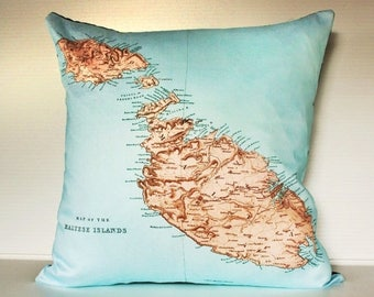 SALE SALE SALE Vintage map/ map print Malta Pillow cover/  organic cotton cushion cover/ pillow case/  organic cotton/ cotton / second anniv