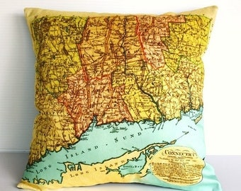 SALE SALE SALE Vintage Map pillow/  Connecticut map/  Cushion cover/ vintage maps/ map home decor /maps / cartography/ gifts for dads / gift