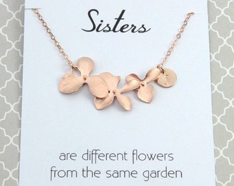 3 Day SALE Personalized Sisters Flower Necklace, Bridal Gift for Sisters, Rose Gold Orchid Flower Necklace, Bridesmaids Gift, Silver Gold