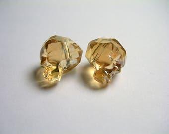 Crystal faceted skull - 2 pcs - 14mm - Golden topaz - SFB15