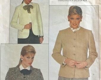 50% OFF SALE 1980s Misses Jacket Pattern Vogue 2828 Vogue American Designer Joseph Picone Suit Blazer Waist or Hip Length Size 10 Bust 32.5