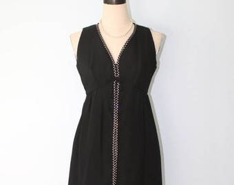 SALE Vintage 1960s Black Party Dress . Rhinestone Trim . 50s 60s Sleeveless Mini Dress or Formal Evening Long Tunic Top . Size Small