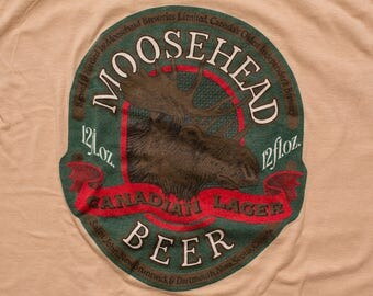 Moosehead Beer T-Shirt, Canadian Lager, Hipster Moose Graphic Tee, Vintage 80s, Woodland Animal, Canada Brewery, Breweriana, Fits S
