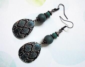 Teal and Black Snakeskin Dangle Earrings (3822)