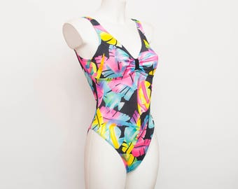 one piece 90s swimsuit NOS Vintage high cut multicolor