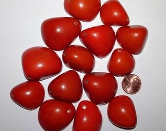 14 Orange Tagua Nut Bead, Top Slices, Organic Beads, Natural Beads, Vegetable Ivory Beads, EcoBeads 5