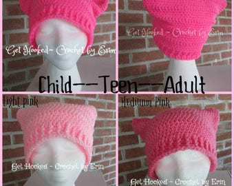 Pink Pussy Hat ( adult--teen--child)