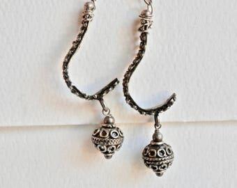 Vintage Dangle Earrings Ethnic Tribal Style Silver Dangle Earrings Pierced Vintage Jewelry Ethnic Jewelry Ethnic Earrings