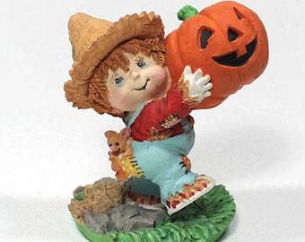 Small Boy with Pumpkin Figurine, Collectible Fall Figurine, Farmer Boy and Pumpkin, Harvest Time