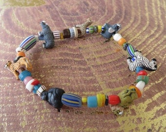 Safari Animal Themed Stretch Bracelet With Clay Animals And Ghana Glass Beads