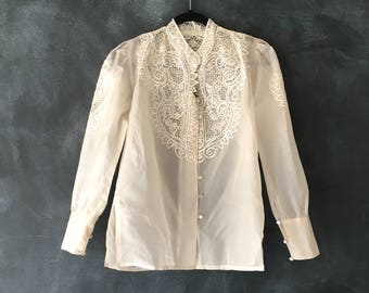 80s Organza Blouse Eyelet Cutout Sheer Princess Sleeve Cuffed Embroidered Ethnic Top Ladies S/M