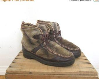 20% Off Sale Fur Boots Vegan Friendly Faux Shearling and Rubber Booties Ladies Size 7 by Snowland