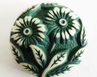 Vintage Buffed Celluloid Button Green Flower