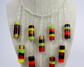 Earth Tone Beaded Bib Necklace