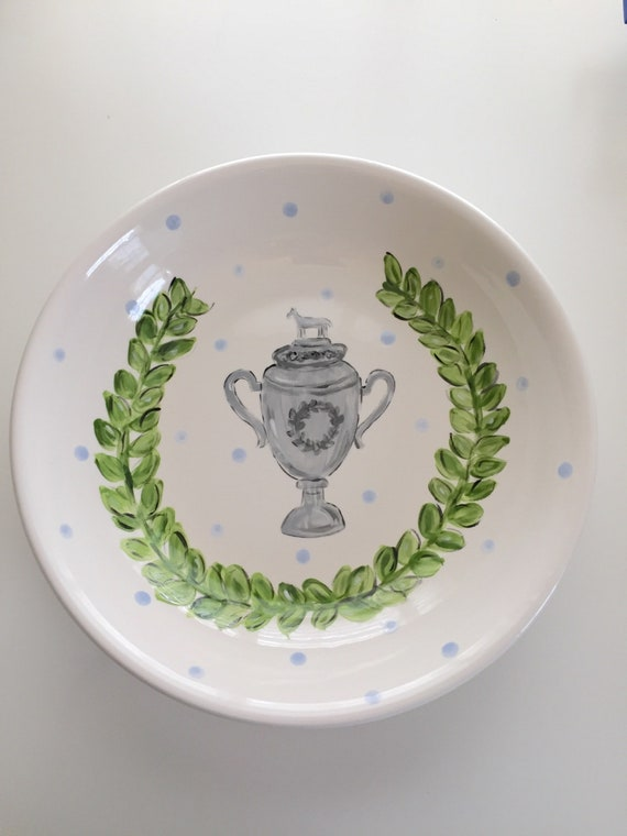 Derby Party Bowl, Derby pottery, KY derby dish, jockey silk bowl, derby party bowl, triple crown dish