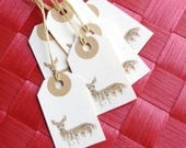 7 Ivory Brown Deer tags - Wrap gift tag - Christmas Birthday Party Anniversary - Made to order labels