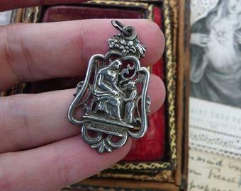Antique French Saint Anne & Mary Medal, Gypsy, Female Mysteries, Alchemist Talisman, offered by RusticGypsyCreations