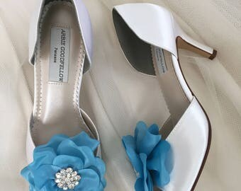 Wedding Shoes Clip - Blue Wedding Shoes -  Flower Wedding Shoe Clips -  Blue Wedding - Wedding Shoe Clips - Blue Flowers - Handmade Wedding