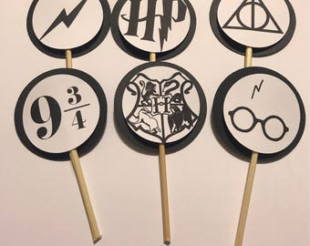 Harry Potter | Wizard Birthday Party Cupcake Cake Toppers Picks - 24