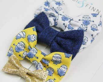 SALE MINIONS Hairbow SET of 4 Hairclip headband Holiday blue yellow white gold